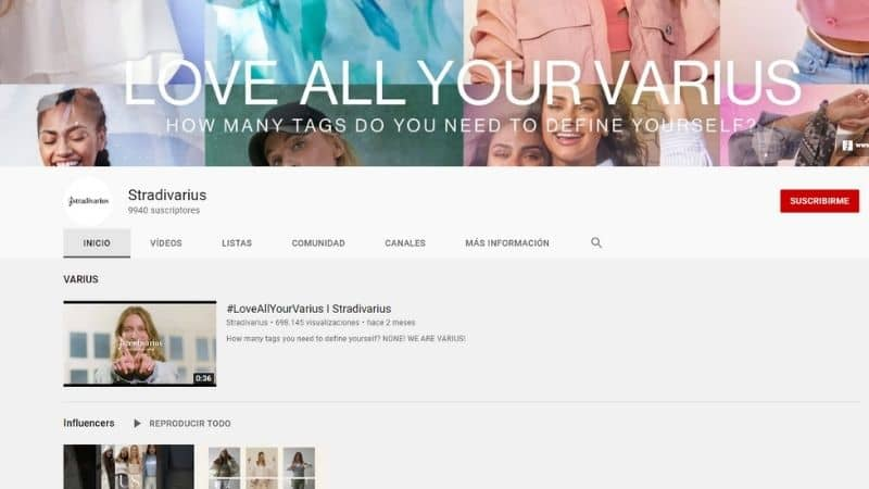 Stradivarius perfil YouTube