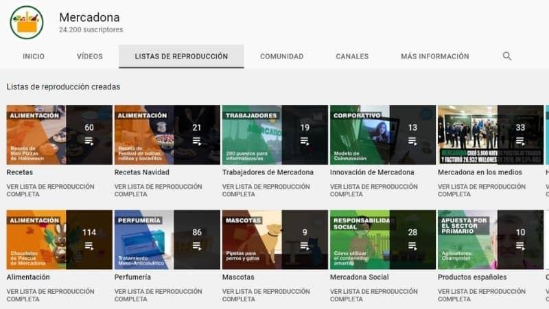 Perfil de YouTube de Mercadona